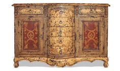 HAND PAINTED BUFFET ELLA, OCHRE DISTRESSED, FRESCO RED, KOENIG COLLECTION