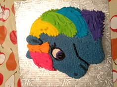 My Little Pony Rainbow Dash birthday cake: could i do this with fruit instead of cake???