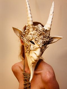 stunning Faun mask -- it would be interesting to see Fauns and Satyrs on the Montague boys, but I think it might be hard to find something so specific