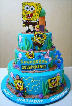 Cool Blue 2 Tiers Birthday Cake Decorating Idea with Sponge Bob Theme: