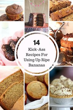 Recipes For Using Up Ripe Bananas! 14 of the BEST banana recipes. from cakes to muffins, desserts to loaves, smoothies to cupcakes! Thermomix Desserts, Köstliche Desserts, Frozen Desserts, Delicious Desserts, Dessert Recipes, Yummy Food, Ripe Banana Recipe, Banana Recipes, Australian Food