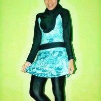 BRMD201431 Baju Renang Muslimah Dewasa Warna Hijau Tosca Motif Abstrak beli di ellima.web.id