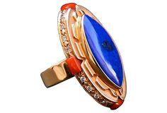 14K Gold, Lapis, Diamond & Coral Ring  $3,175.00