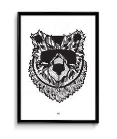 Pre-Order Masked Bear A3 Print | Yellow Dandy