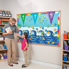 Fishers of Men Bulletin Board Scene Idea | Bring Bible stories to life with this colorful Sunday School decorating idea. #SundaySchool