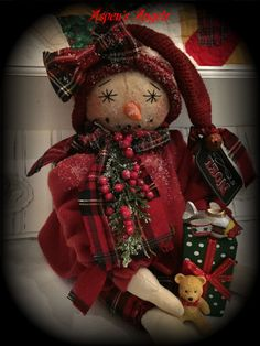 "Primitive Folk Art Snowman Doll ""Matilda"" & Toys Vintage Linen Aspen's Angels #NaivePrimitive"