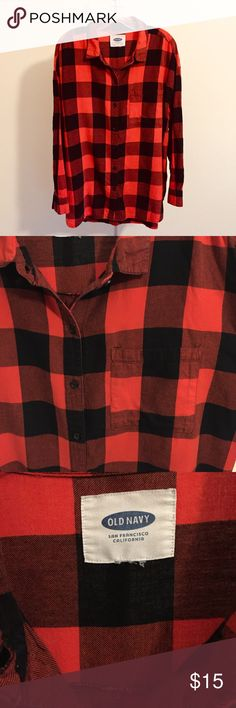 Plaid Flannel Button-Down Shirt EUC One of my favorite flannels (and I've got quite a few)! The red and black plaid pattern is so classic for a fall/winter flannel, and the vibrant red color really pops against all skin and hair colors!  Top has one breast pocket on the left side.  EUC—EXCELLENT USED CONDITION! This top looks like it has barely been worn—no pilling under the arms, barely discernable signs of wear/tear, and the vibrant colors have held up and not faded! Old Navy Tops