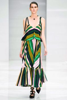 Striped dresses hit a perfect summer note but stayed firmly within the realm of the elegant in relaxed A-line shapes and lovely colors.
