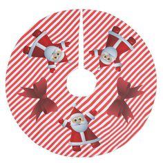 Cute Santa Claus Red Bows Merry Christmas Brushed Polyester Tree Skirt #christmas #treeskirts #xmas #tree