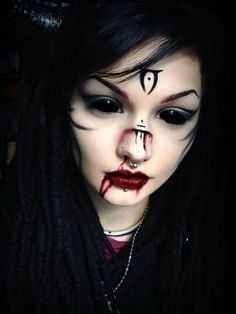 I would, however, wear this without bleeding the mouth and nose - Make-Up Style - halloween art Creepy Makeup, Witch Makeup, Sfx Makeup, Cosplay Makeup, Costume Makeup, Makeup Art, Demon Makeup, Gothic Makeup, Dark Makeup