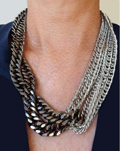 Gunmetal Twist Chain Necklace