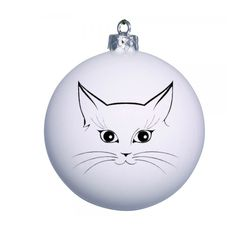 White Christmas bauble with a cute cat design. Ad a name on each bauble for FREE!