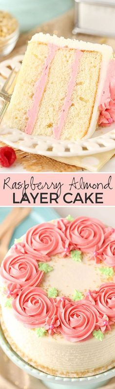 Home Made Doggy Foodstuff FAQ's And Ideas Raspberry Almond Layer Cake Such A Light, Moist Cake With Fresh Raspberry Frosting Smores Dessert, Bon Dessert, Low Carb Dessert, Dessert Tables, Frosting Recipes, Cupcake Recipes, Baking Recipes, Cupcake Cakes, Dessert Recipes