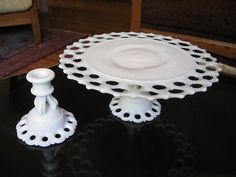 milk glass lace edging cake plate and candlestick