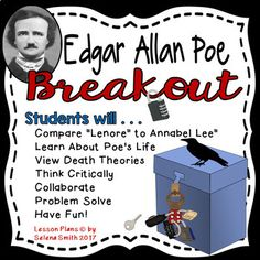 Edgar Allan Poe breakout box! Engaging, challenging, and fun way to help students become familiar with Poe's life and some of his works. 7th, 8th, 9th, 10th, 11th, 12th grade