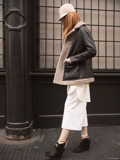 Kate Spade Madison Avenue Collection Shearling Coat (worn over) Marc Jacobs Sweater and 3.1 Phillip Lim Shirt Dress