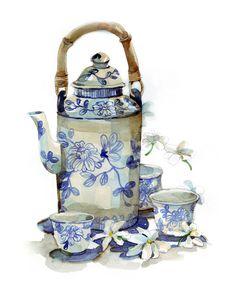 Blue and white....oriental tea time