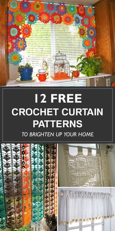 12 Free Crochet Curtain Patterns To Brighten Up Your Home - Diy Crafts Diy Crochet Curtains, Crochet Curtain Pattern, Curtain Patterns, Crochet Patterns, Crochet Decoration, Crochet Home Decor, Crochet Crafts, Diy Crafts Vintage, Diy Home Crafts