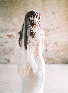Lace Mantilla Veil - © SIBO Designs Bridal Adornments & Veils www.sibodesigns.com - Photo by Brumley & Wells