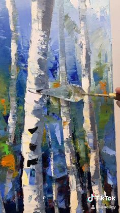 Abstract Tree Painting, City Painting, Birch Trees Painting, Abstract Trees, Tree Paintings, Painting Canvas, Canvas Art, Landscape Art, Landscape Paintings