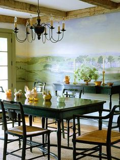 Beautiful Landscape  Give your guests the impression they are dining on a lush hilltop with a country hillside mural. This scene complements the exposed wood beams and the farmhouse table. Refer to books, photos, or old maps for scenes that mirror your home's decorating style.