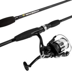 When you take a day to relax on the water you can get serious about big fish with this spinning combo from Wakeman. The perfect gear for ponds, lakes and rivers, it has what it takes to catch bass, walleye, pike, catfish and more. Includes stainless steel guides, graphite reel seat, and single ball bearing drive for smooth action. An all-fiberglass Medium action rod, spool-adjustable drag and forward/reverse reel switch offers the features you will appreciate. The reel handle can be switched to Fishing Rod Rack, Fishing Rods And Reels, Rod And Reel, Bass Fishing, Crappie Fishing, Ice Fishing, Sport Fishing, Fishing Tips, Women Fishing