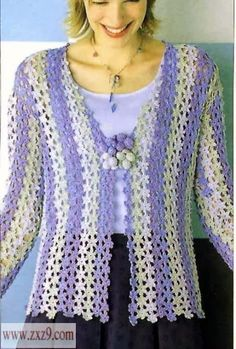 crochet jacket made of flower pattern - I don't like colors but the result is great