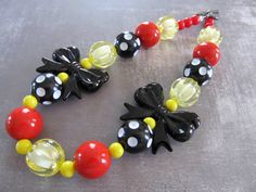 Chunky little girl necklace, ladybug necklace, bubblegum candy necklace in red, black and yellow on Etsy, $280.00