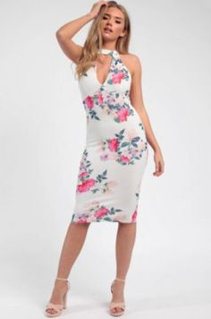 Floral Choker Midi Dress white