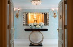 St. Regis New York - A Breakfast at Tiffany's inspired penthouse suite that is to die for! It has beautiful structural lines the extenuate the walls and glamorous elements that top it off. Every room has details that all Audrey Hepburn fans would adore.