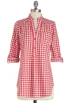 You can't go wrong with red gingham.  Pair with denim shorts for the perfect summer look.