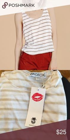 Wildfox basic striped Tank Take me to the Hamptons. Simple, striped tank top featuring a scoop neck and a flowing fit finished by a rounded hem. Knit from a cotton blend so it's soft and lightweight. Wildfox Tops Tank Tops