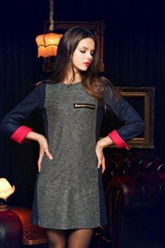 Color Stitching Dress with Zipper [FXBI00344] - PersunMall.com