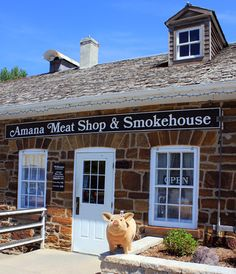 Be sure to say hello to our famous mascot Wilbur next time you stop by the Amana Meat Shop! Amana Colonies, Meat Shop, Our Town, Smokehouse, Iowa, German, Contemporary, City, Places