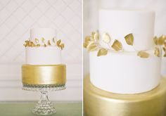 white and gold wedding cake ...with gold laurel