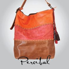 Large and lightweight HoBo handbag in Brown, orange and coral leather, perfect for everyday activities. It is ample enough to carry an iPad or a 13""