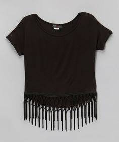 Look at this Lori & Jane Black Fringe Tee - Girls on #zulily today!