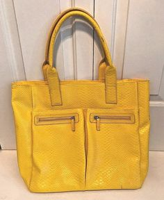 Woman's Bright Yellow Neiman Marcus Large Tote Bag Front Pockets Zipper #NeimanMarcus #TotesShoppers