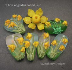 daffodil lampwork beads - springtimeiscoming2