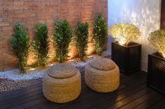 Small wooden contemporary patio garden