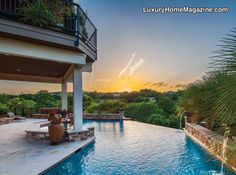 Stunning infinity edge pool overlooking the beautiful terrain of Austin, TX