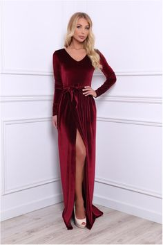 fc62e710 Burgundy Bridesmaid Party Velvet Maxi Dress/ V Neck High Slit Long Sleeves  Waistband Sash/ Burgundy Dress