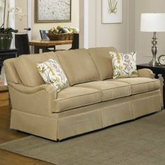 Lakefront Fabric Sofa and Chair Set by Charles Schneider Furniture. $1199.99. Fabric swatches available: call 1-888-880-4884 to order. Dimensions: 82L x 39W x 36H inches. High-resiliency seat foam for durability and comfort. Patented tri-level sinuous wire spring system. Hardwood frame; skirted cushion back; English arm. 840ZS-84 Features: -Transitional style.-Lakefront Flax with Devine Spring pillows.-Cushion back / skirted / english arm.-Medium seating comfort.-No seat cushi...