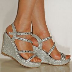 cebe352d3210 NEW DIAMANTE SILVER GOLD BLACK WEDGE MID HEEL PROM EVENING BRIDAL SANDALS  SIZE