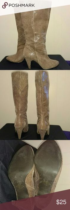 Colin Stuart Brown Snakeskin print boots Genuine Leather Snakeskin print boots In excellent used condition. Beautiful boots with lots of life left. No box. Colin Stuart Shoes Ankle Boots & Booties