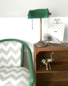Office, Green, Chevron, Bankers Lamp, Elephant, Brass, Stripes, Gray