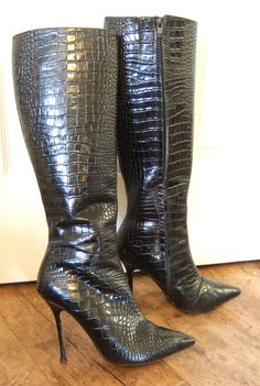DUNE Black Leather Mock Croc Knee High Stiletto Boots. UK 5. Excellent cond!