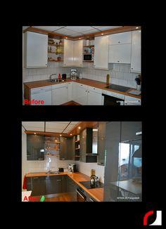 een strakke grijze hoogglans keuken! #Spuiterij #Verven ...