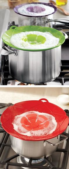 Spill stopper // heat-proof silicone, stops food boiling over, kitchen innovation! Brilliant!