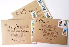 Kraft paper wedding envelopes